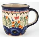 Polish Pottery STRAWBERRY BUTTERFLY 12-oz Stoneware Mug   UNIKAT