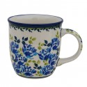 Polish Pottery BLUE FLOWER 12-oz Stoneware Mug | ARTISAN