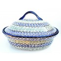 "Polish Pottery CELEBRATE 12.5"" Covered Stoneware Casserole 