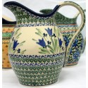 Polish Pottery BLUE TULIP 2-Quart Stoneware Pitcher | UNIKAT