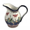 Polish Pottery STRAWBERRY BUTTERFLY 2-Quart Stoneware Pitcher | UNIKAT