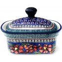 Polish Pottery CHERISHED FRIENDS 2-Cup Stoneware Butter Box | UNIKAT