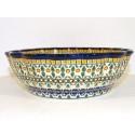 Polish Pottery ENCHANTING Scalloped Stoneware Serving Bowl | ARTISAN