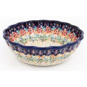 Polish Pottery FLOWERING SPLENDOR Scalloped Stoneware Serving Bowl | UNIKAT