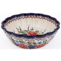 POLISH POTTERY STONEWARE SCALLOPED SERVING BOWL | BUTTERFLY MERRYMAKING