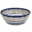 Polish Pottery ENCHANTING Scalloped Stoneware Serving Bowl | ARTISAN