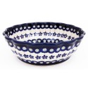 POLISH POTTERY FLOWERING PEACOCK SCALLOPED STONEWARE SERVING BOWL | CLASSIC