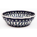 Polish Pottery EYE OF THE PEACOCK Scalloped Stoneware Serving Bowl | CLASSIC