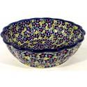 Polish Pottery FRIENDSHIP Scalloped Stoneware Serving Bowl   ARTISAN