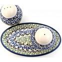 Polish Pottery CELEBRATE Salt & Pepper & Tray Stoneware Set | CLASSIC