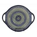 """Polish Pottery CELEBRATE 12.5"""" Round Stoneware Handled Platter   CLASSIC"""