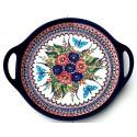 "Polish Pottery BUTTERFLY MERRY MAKING 12.5"" Round Stoneware Handled Platter | UNIKAT"