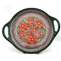 "Polish Pottery CHERISHED FRIENDS 12.5"" Round Stoneware Handled Platter | UNIKAT"