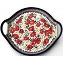 "Polish Pottery LOVE BLOSSOMS 12.5"" Round Stoneware Handled Platter | EX-UNIKAT"