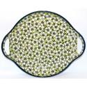 "Polish Pottery BACOPA 12.5"" Round Stoneware Handled Platter   UNIKAT"