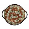"Polish Pottery RED BACOPA 12.5"" Round Stoneware Handled Platter   UNIKAT"