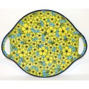 "Polish Pottery CITRINE 12.5"" Round Stoneware Handled Platter  "
