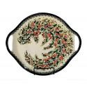 "Polish Pottery SEASONS 12.5"" Round Stoneware Handled Platter   UNIKAT"