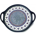 "Polish Pottery SWEETIE PIE 12.5"" Round Stoneware Handled Platter | ARTISAN"