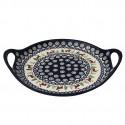 "Polish Pottery CARIBOU LODGE 12.5"" Round Stoneware Handled Platter   CLASSIC"