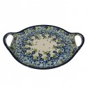 "Polish Pottery TRUE BLUES 12.5"" Round Stoneware Handled Platter   ARTISAN"