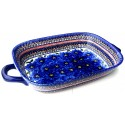 "Polish Pottery 14"" BLUE PANSY Serving Tray With Handles 