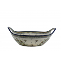 "Polish Pottery WISHFUL 13"" Handled Stoneware Baker-Bowl 