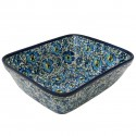 "Polish Pottery BLUE LAGOON 10"" Rectangle Stoneware Bakeware 