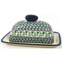 Polish Pottery IVY 2-Piece Covered Stoneware Butter Dish | CLASSIC