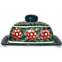 Polish Pottery PASSION 2-Piece Covered Stoneware Butter Dish | UNIKAT