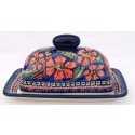 Polish Pottery CHERISHED FRIENDS 2-Piece Covered Stoneware Butter Dish | UNIKAT