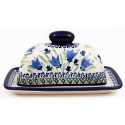 Polish Pottery BLUE TULIP 2-Piece Covered Stoneware Butter Dish | UNIKAT