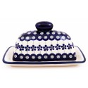 Polish Pottery FLOWERING PEACOCK 2-Piece Covered Stoneware Butter Dish | CLASSIC