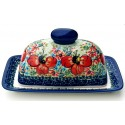 Polish Pottery CHAMPAGNE 2pc Covered Stoneware Butter Dish | UNIKAT