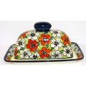 Polish Pottery RED BACOPA 2-Piece Covered Stoneware Butter Dish | UNIKAT