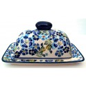 Polish Pottery TRUE BLUES 2-Piece Covered Stoneware Butter Dish | ARTISAN