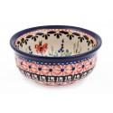 Polish Pottery BLUE FLOWER Small Stoneware Bowl   ARTISAN