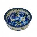 Polish Pottery BLUE FLOWER Small Stoneware Bowl | ARTISAN