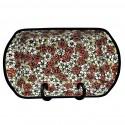 "Polish Pottery RED BACOPA 16"" Stoneware Handled Rectangular Serving-Baker   UNIKAT"