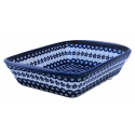 "Polish Pottery FLOWERING PEACOCK 16"" Stoneware Handled Rectangular Baker   CLASSIC"