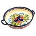 "Polish Pottery BUTTERFLY MERRY MAKING 10"" Handled Round Stoneware Baker 