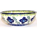"Polish Pottery FLORAL ROYAL 5"" Scalloped Stoneware Bowl 
