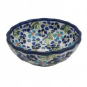 "Polish Pottery TRUE BLUE 5"" Scalloped Stoneware Bowl 