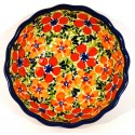 "Polish Pottery LOVE 5"" Scalloped Stoneware Bowl 