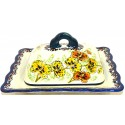 Polish Pottery ORCHID Covered Stoneware Butter Dish | UNIKAT