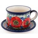 Polish Pottery BELLISSIMA 6.7-oz Stoneware Cup & Saucer Set | EX-UNIKAT