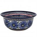 Polish Pottery BLUE PANSY 61-oz Flared Top Stoneware Bowl   UNIKAT