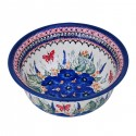Polish Pottery STRAWBERRY BUTTERFLY 61-oz Flared Top Stoneware Bowl | UNIKAT