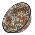 "Polish Pottery RED BACOPA 10"" Stoneware All Purpose Baker-Serving Bowl 