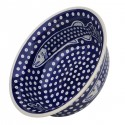 "Polish Pottery DOTTY FISH 10"" Stoneware All Purpose Baker-Serving Bowl 